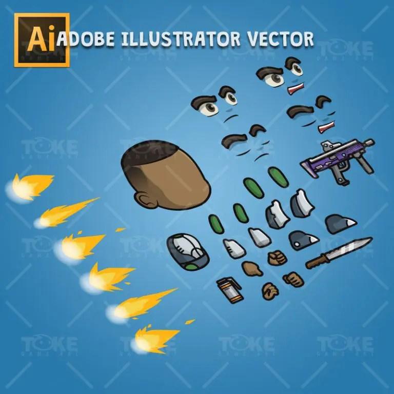 Brown Skin Metro Squad Boy - Adobe Illustrator Vector Art Based Charcater Body Parts