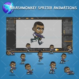 Brown Skin Metro Squad Boy - Brashmonkey Spriter Character Animations