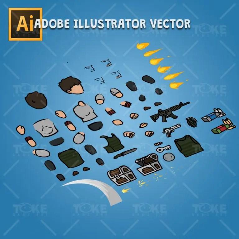 Big Gunner Guy - Adobe Illustrator Vector Art Based Charcater Body Parts