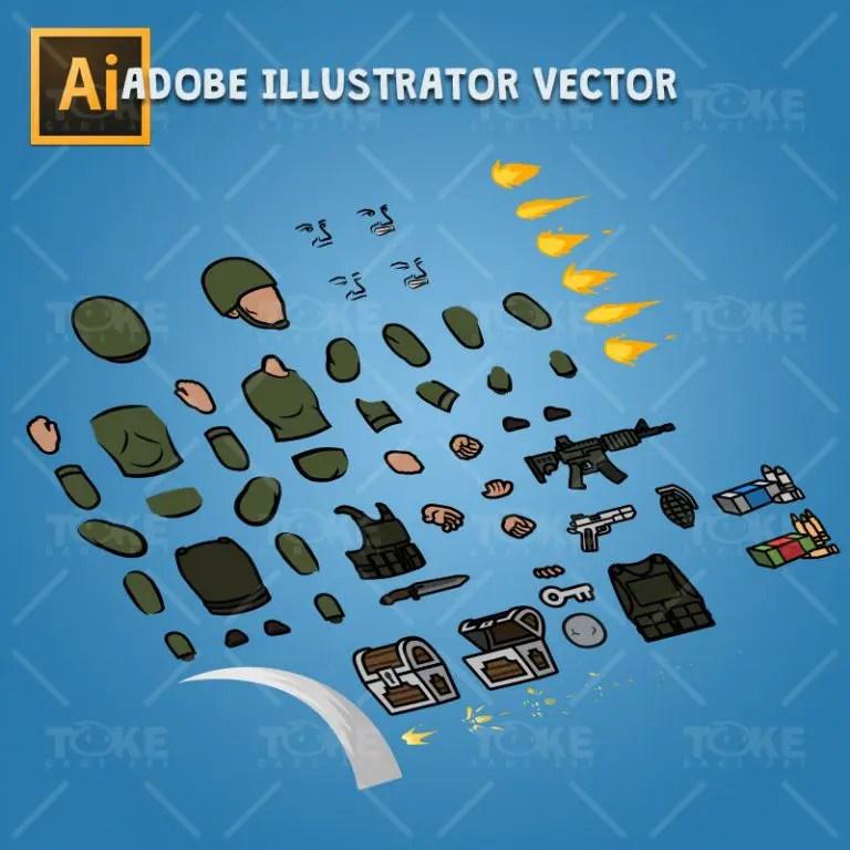 Green Army Guy - Adobe Illustrator Vector Art Based Character Body Parts