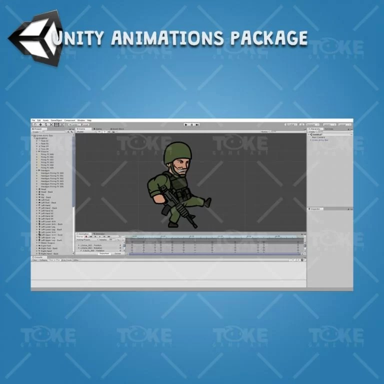 Green Army Guy - Unity Animation Package Ready with Spriter2UnityDX Tool