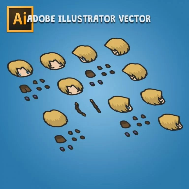 4 Directional Archer Guy - Adobe Illustrator Vector art Based Character Boy Parts