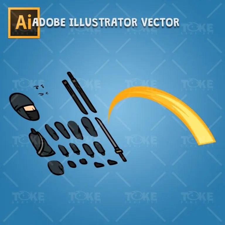 Black Ninja with Sword - Adobe Illustrator Vector Art Based Character Body Parts
