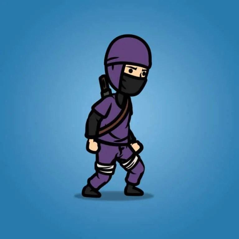Purple Ninja with Sword - 2D Character Sprite