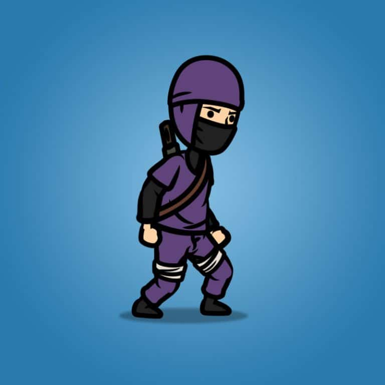 Purple Ninja with Sword - 2D Character Sprite