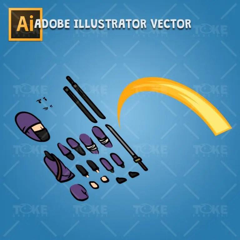 Purple Ninja with Sword - Adobe Illustrator Vector Art Based Character Body Parts