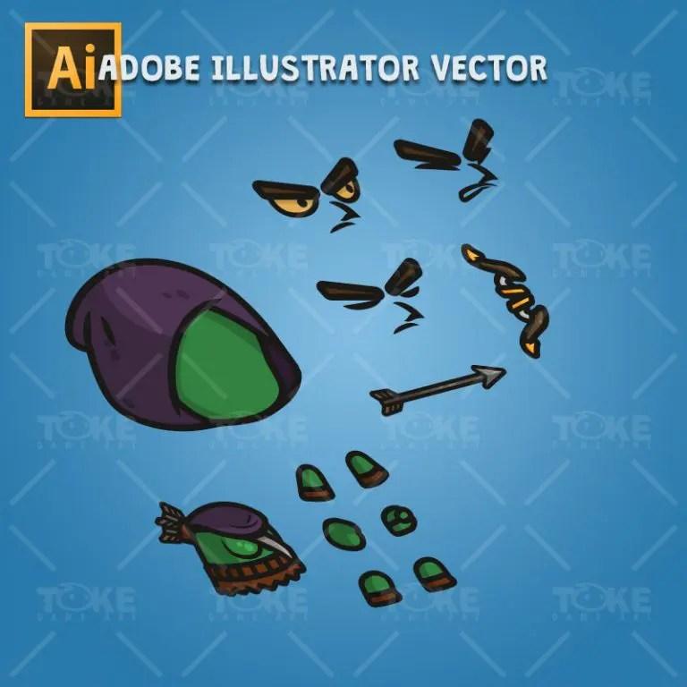 Goblin Archer - Adobe Illustrator Vector Art Based Character Body Parts