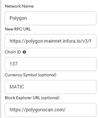 cómo agregar polygon a matemask