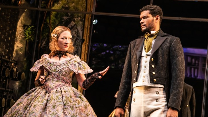 """A scene from """"Slave Play"""" featuring Annie McNamara and Sullivan Jones. The latter is reunited with director Robert O'Hara in the Williamstown Theatre Festival/Audible production of """"A Streetcar Named Desire."""" Credit: Matthew Murphy"""