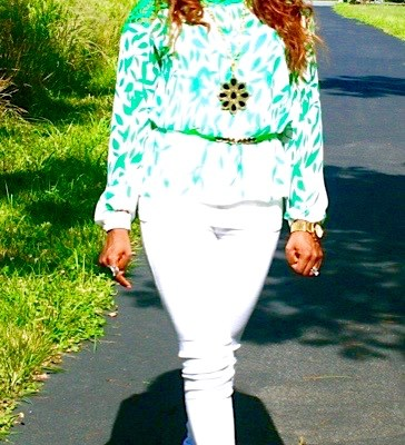 Green & White Top on White Jeans