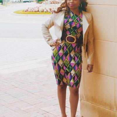Fall-Friendly Purple Print Dress