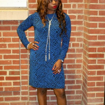 Bold Blue Print Shift Dress + Ankle Boots