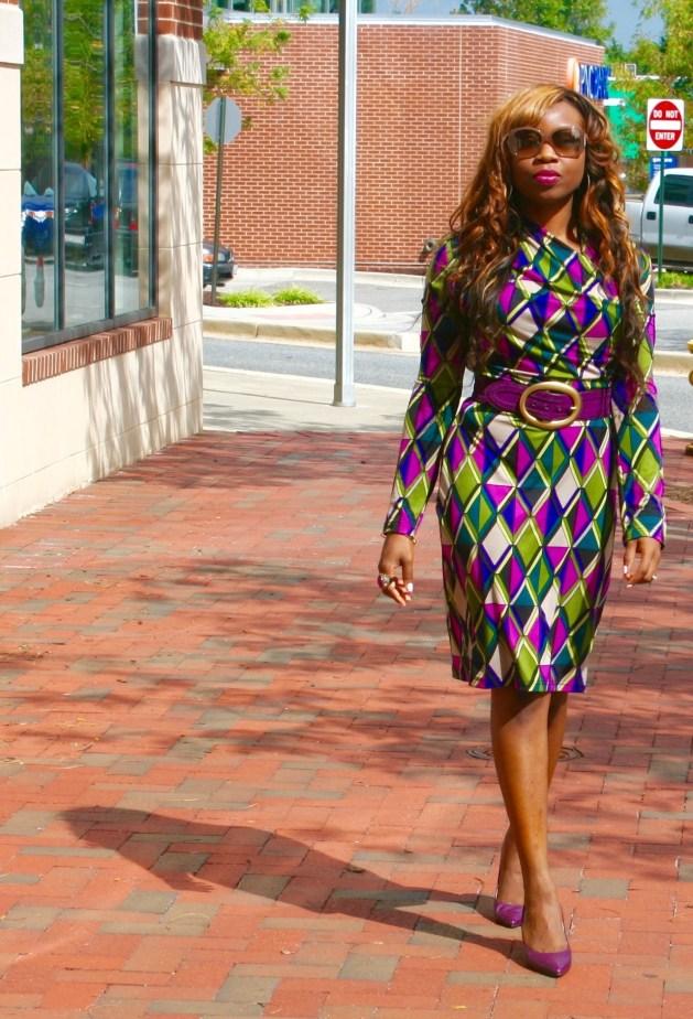 Long sleeve multi-colored purple dress