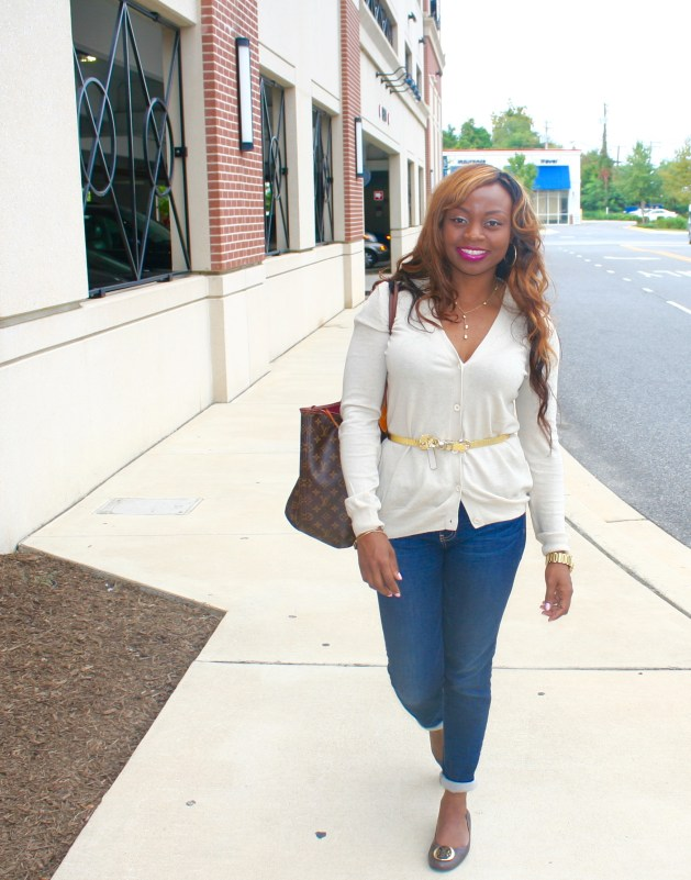 Buttoned down sweater, Cuffed jeans and Tory Burch Flats 3