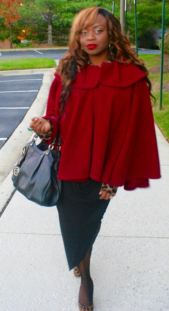 Black wrap skirt, Gucci Bag and Red Cape