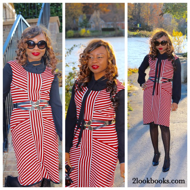Striped Nine West Dress with Black Tie Neck Blouse and Prada Baroque Sunglasses Collage