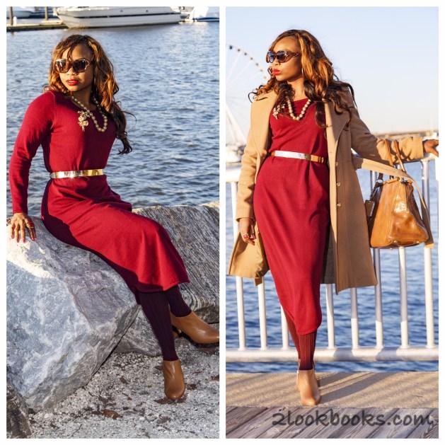 Red Sweater Dress-Tan Coat-Tan Bag