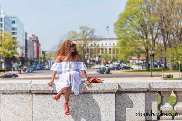 Off the Shoulder Striped Dress14