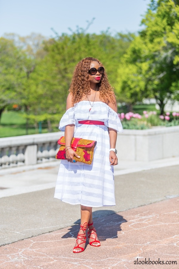 Off the Shoulder Striped Dress6