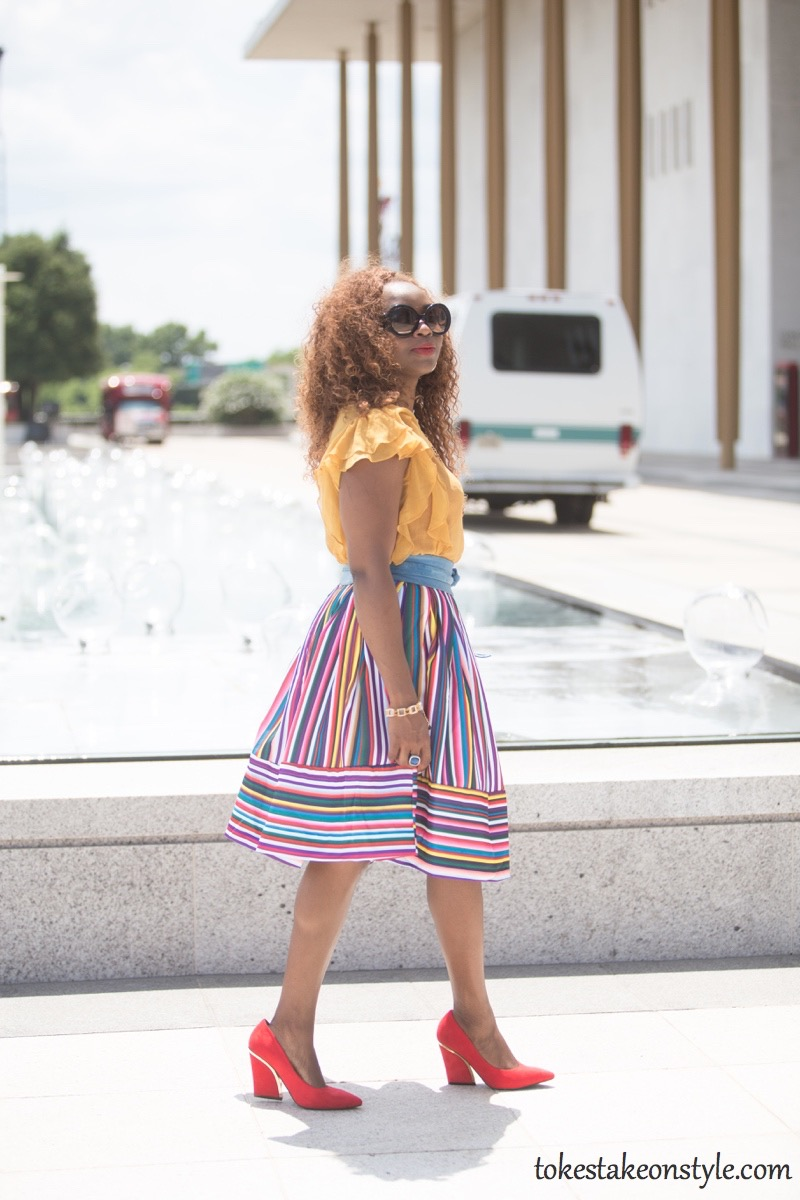 How to wear a multi-colored striped skirt54