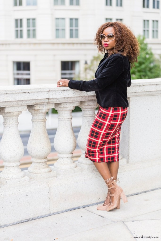 simple ways to style plaid for the office with a black velvet blazer