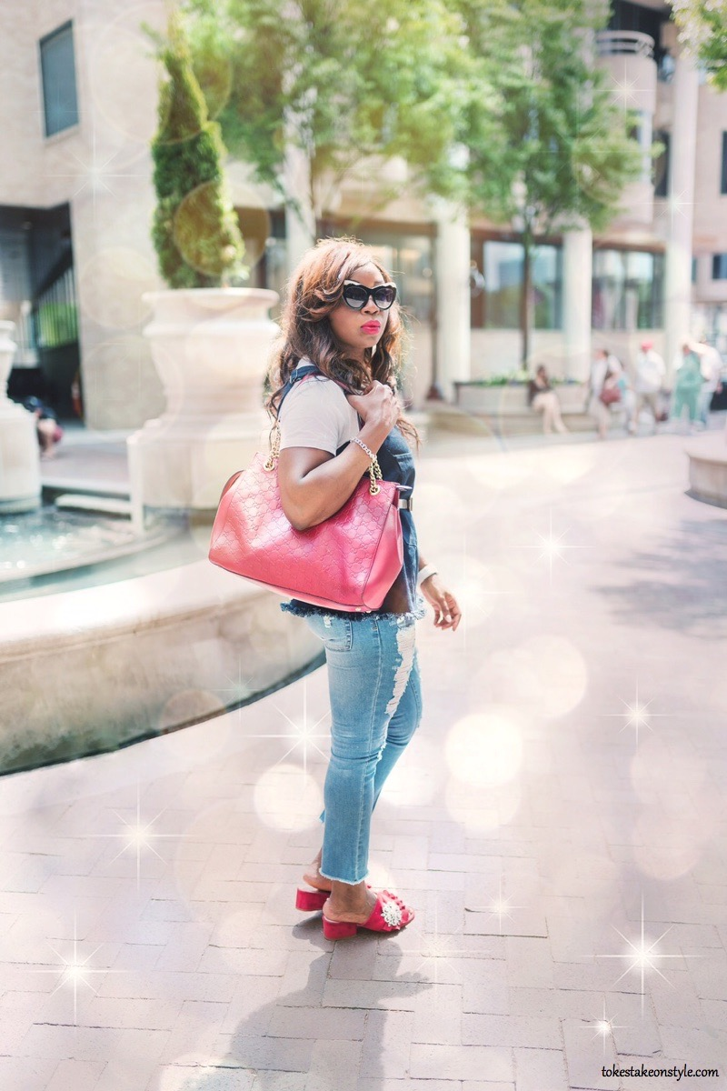 red gucci bag red mules casual style
