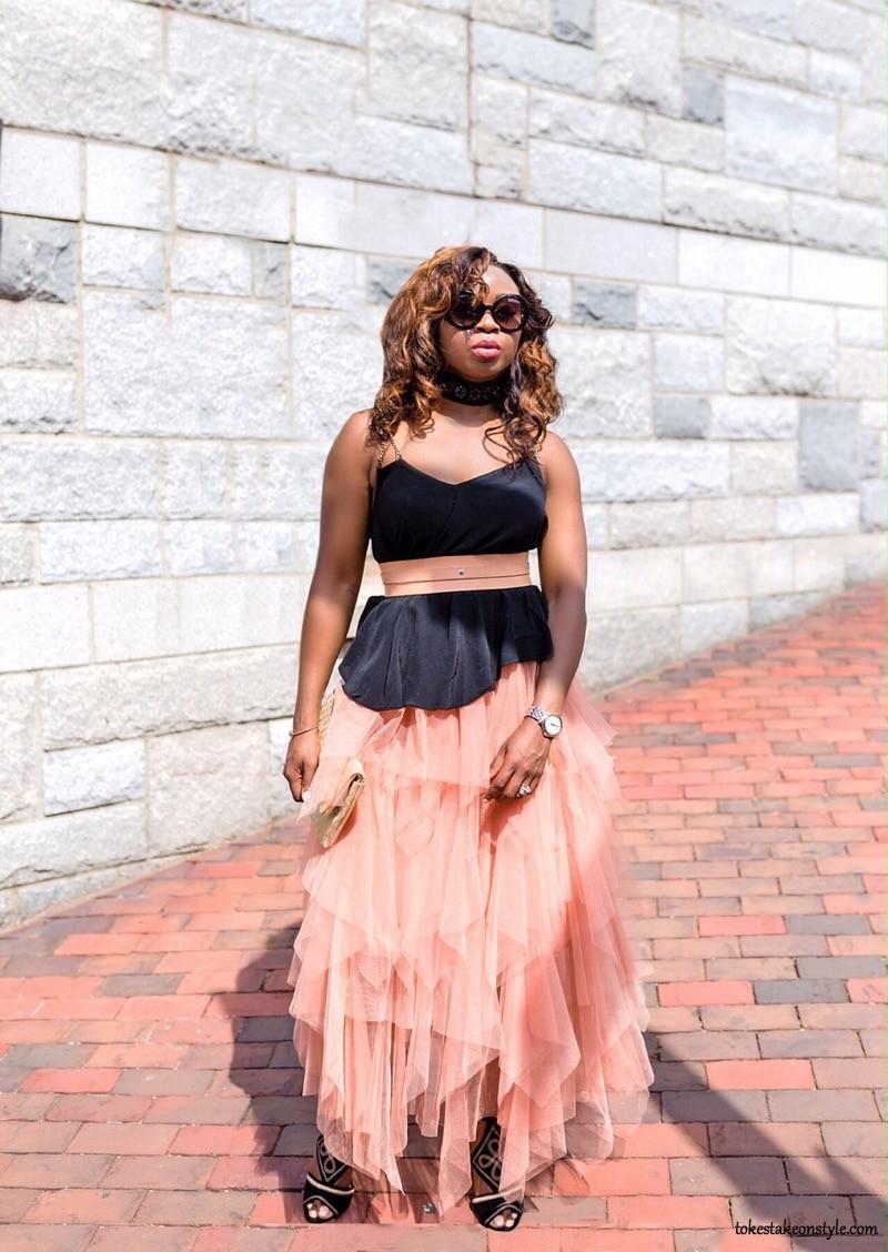 Black choker necklace Blush tulle skirt fashion blog