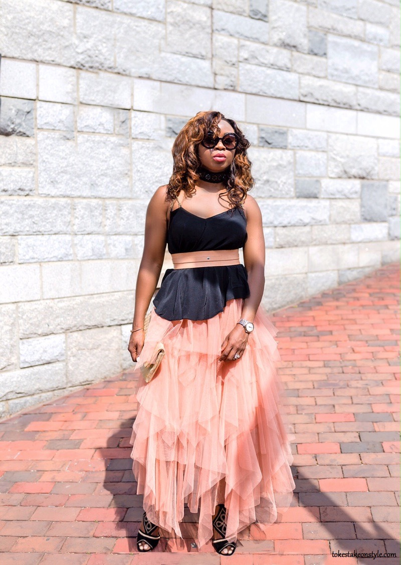Black choker necklace Blush tulle skirt fashion blog