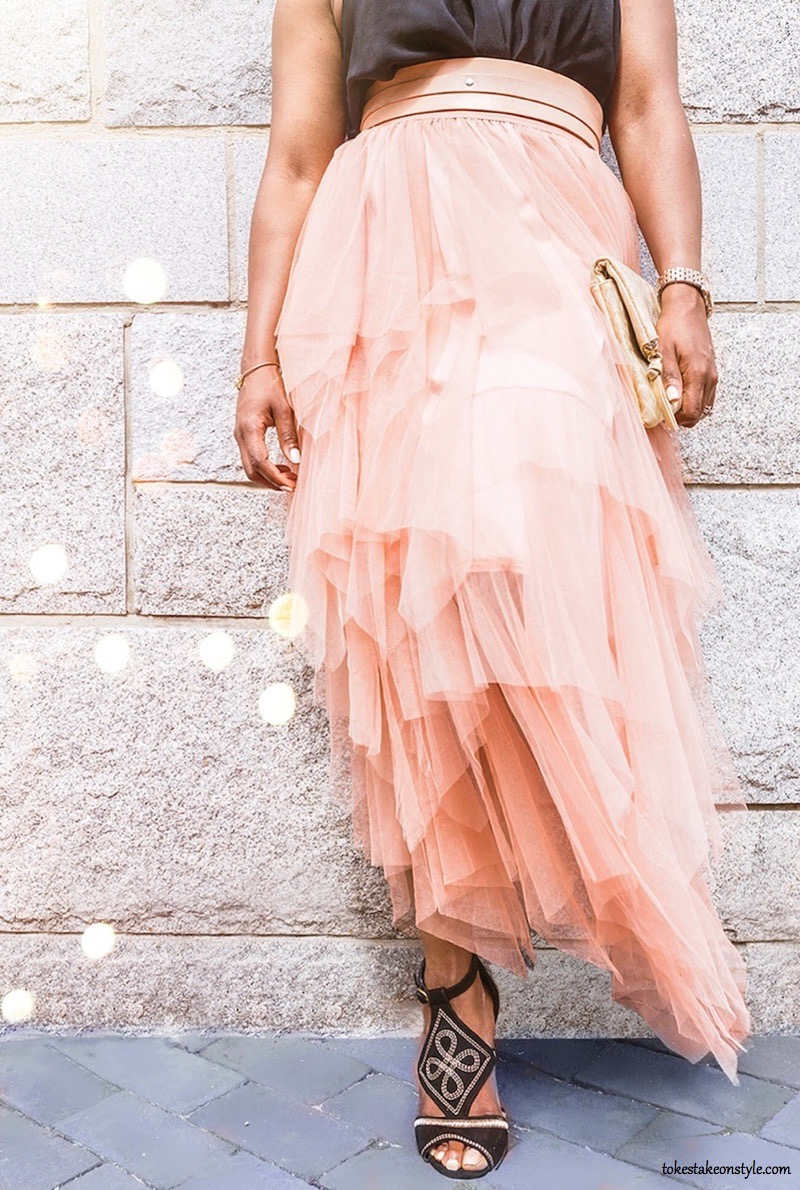 Blush Tulle Skirt Black Sandals Style Blog
