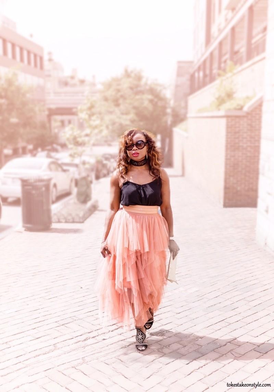 Asos Black Top choker necklace blush belt tulle skirt style blog