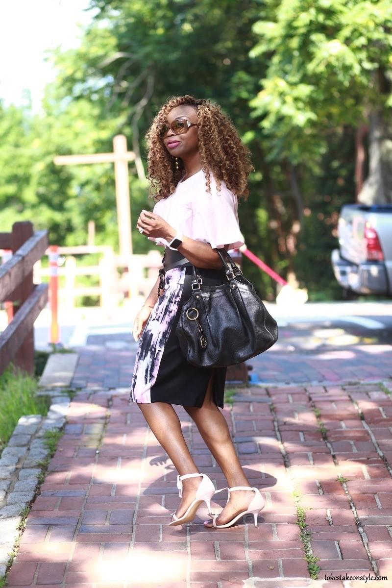 Black print skirt ThredUp Top Office Look