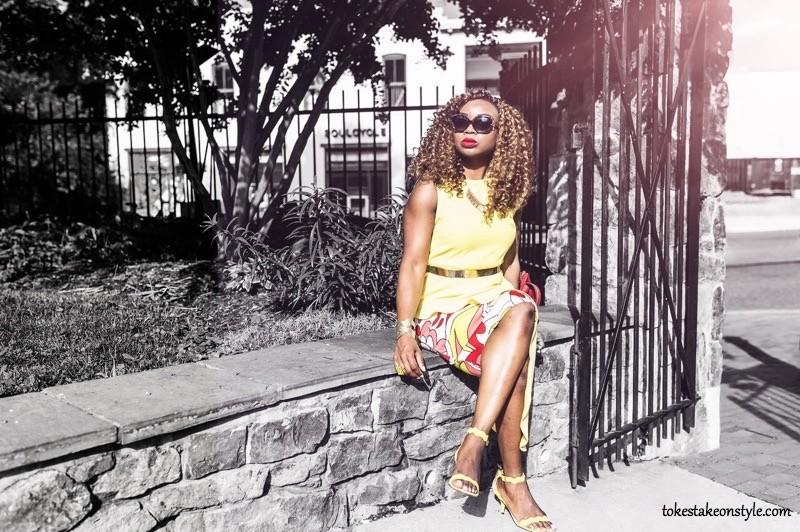 Summer Fashion-black-blogger-yellow-kittenheel-sandals-print-pencil-skirt-yellow-top