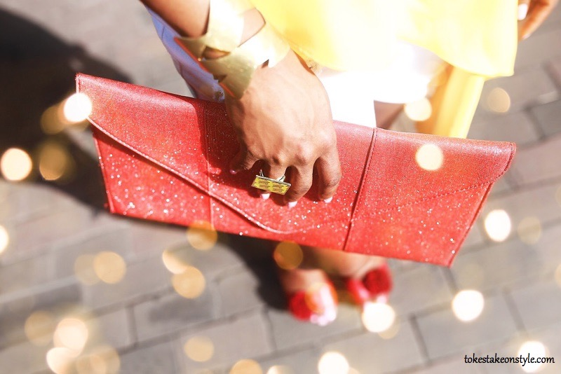 oversized red clutch