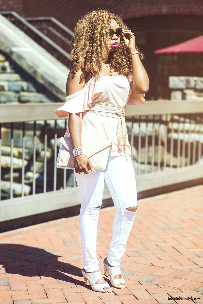 Style blogger wearing pink cold-shoulder top
