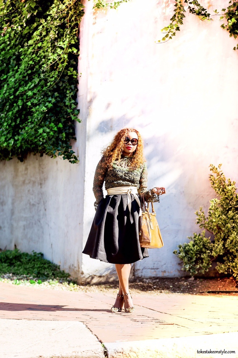 Fall style outfit featuring green lace top with statement sleeves