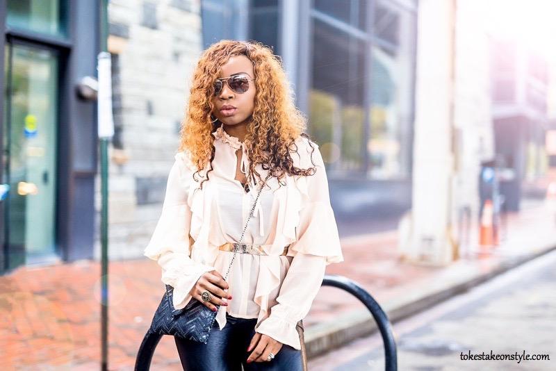 Fashion blogger street style statement sleeve trend
