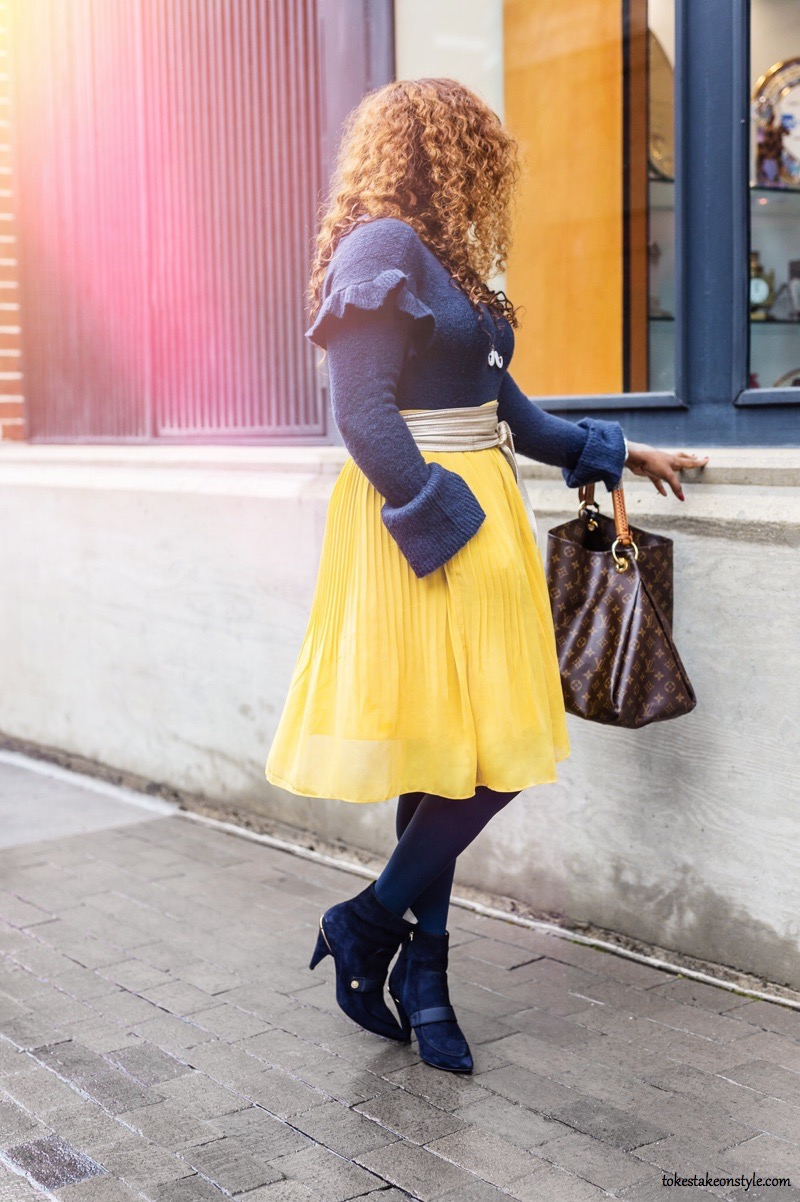Romeo & Juliet Couture Ruffled Sweater for work and Yellow Pleated Skirt