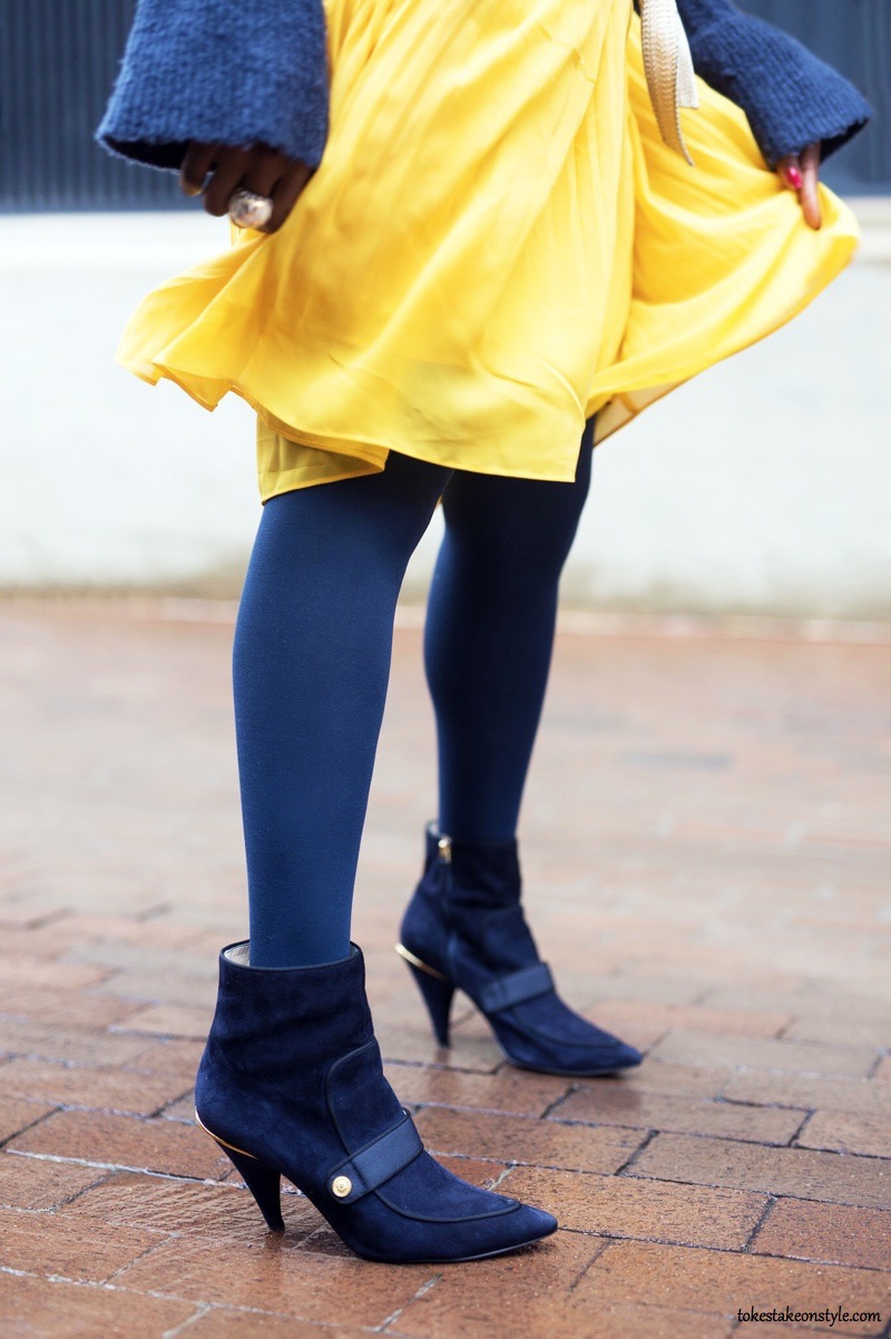 Sweater for work and Yellow Pleated Skirt