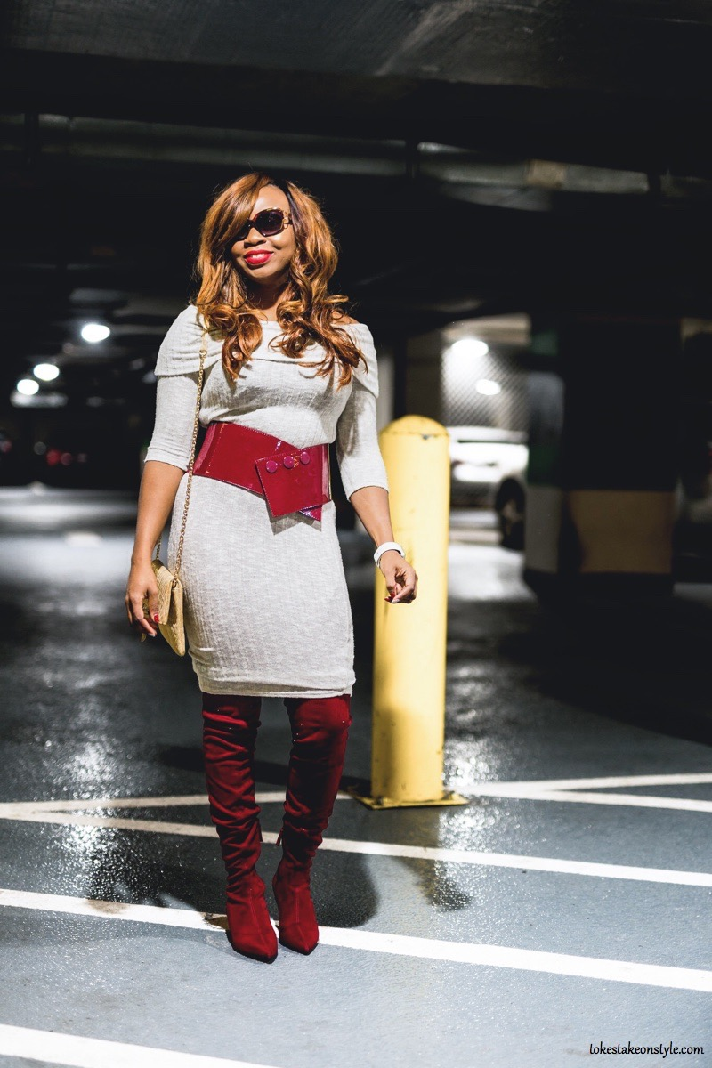 White off shoulder dress with wide Asos red belt and red Zara boots