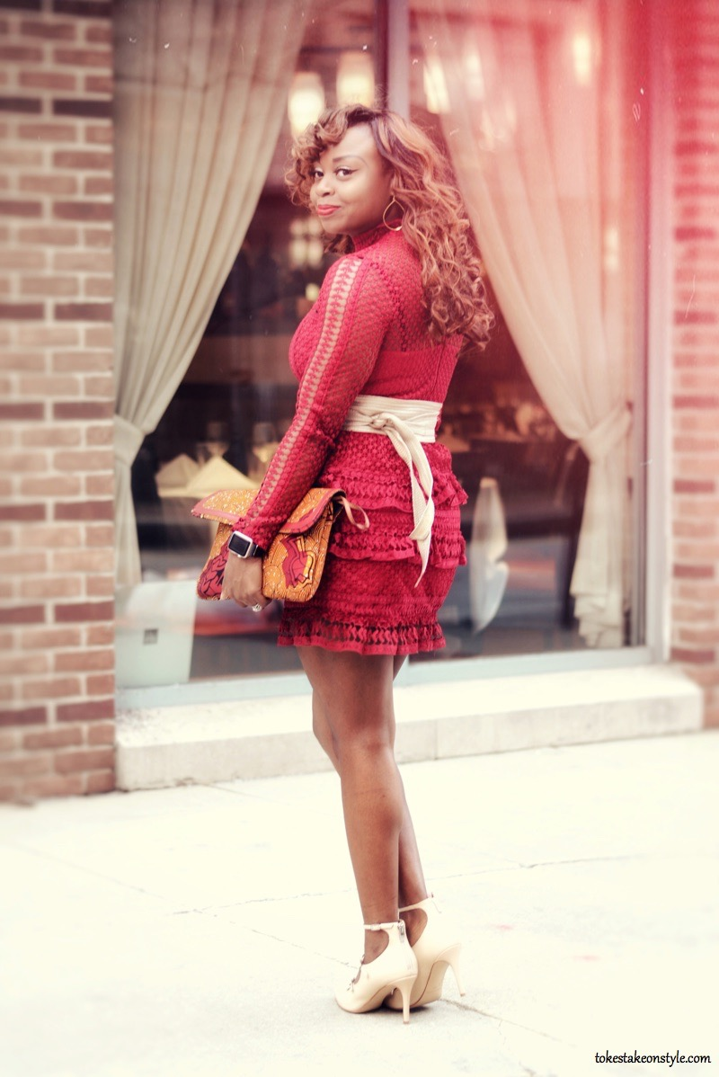 Red lace dress with ankara bag