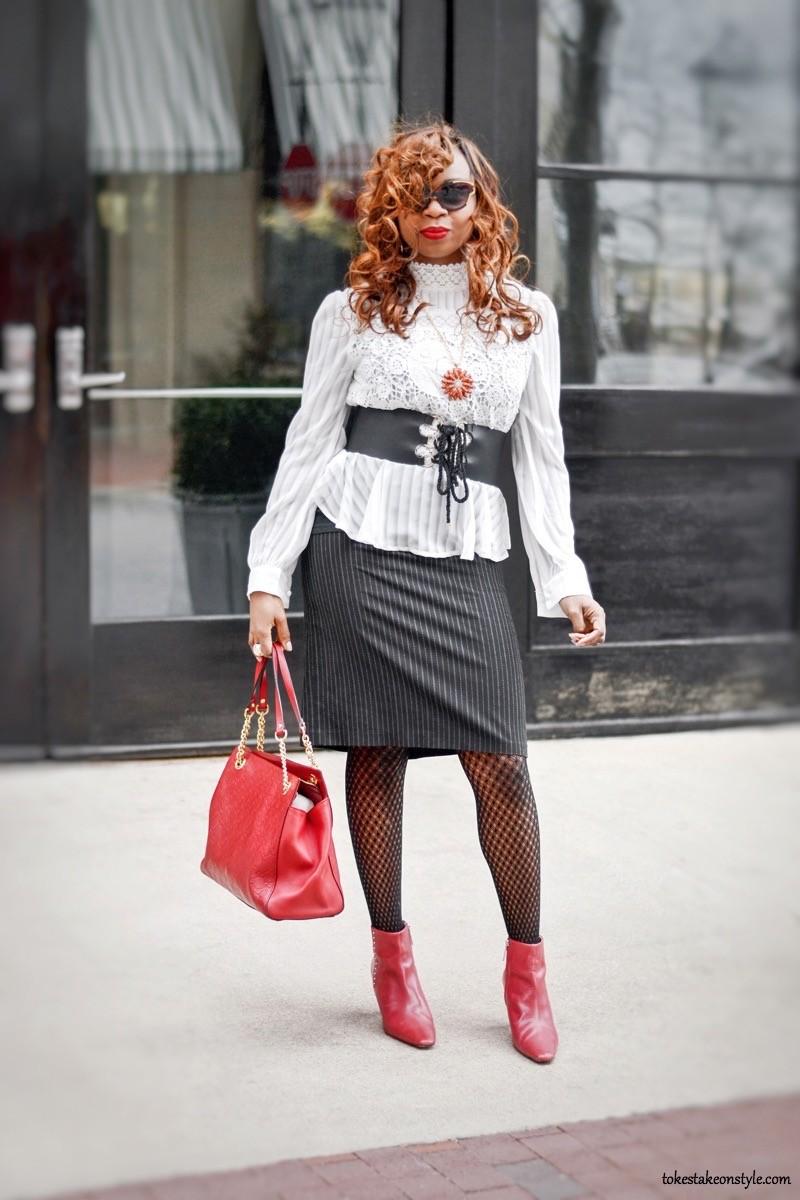 Shein white peplum top and black pinstriped skirt