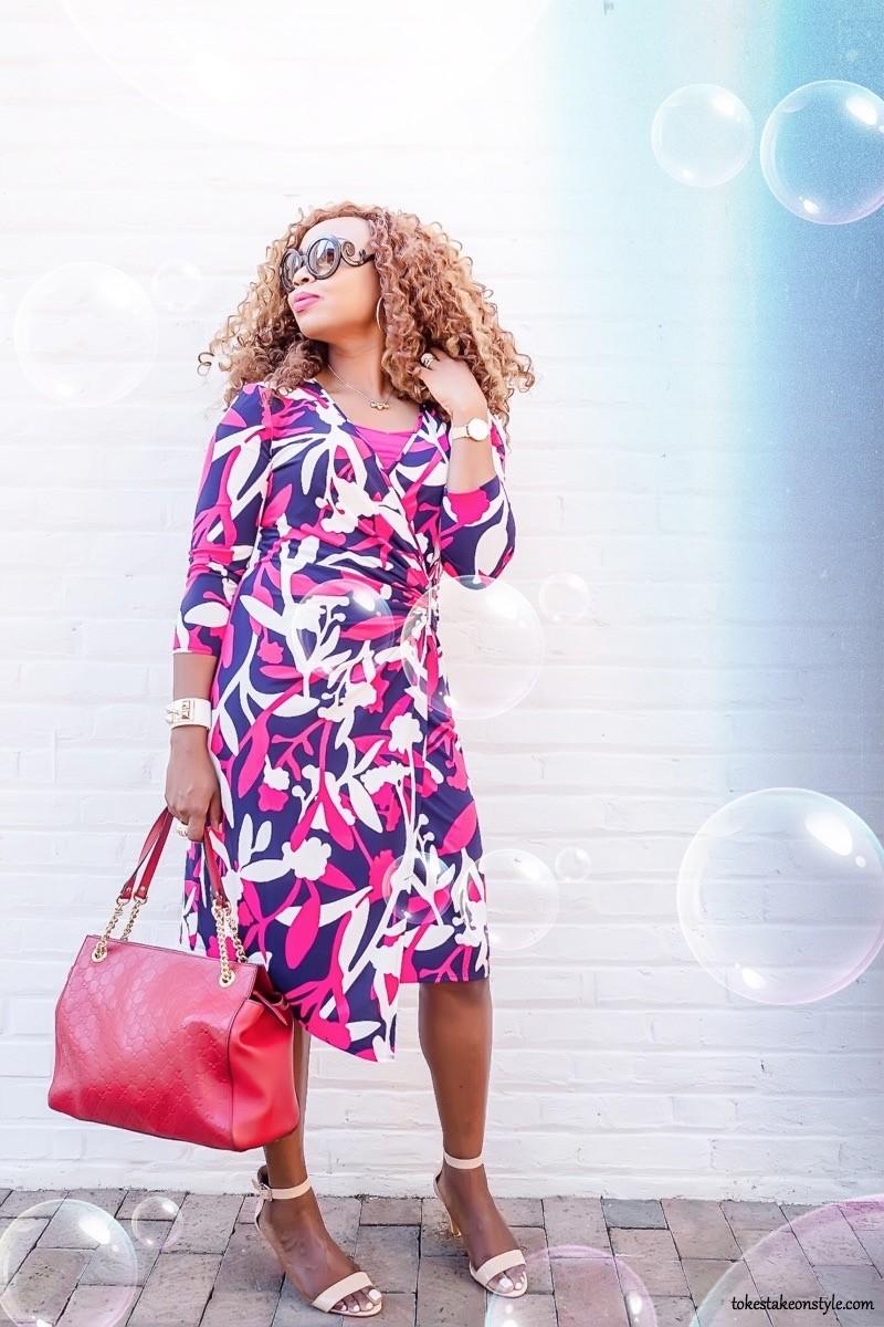 Purple and pink wrap dress