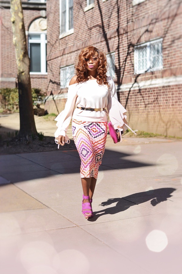 Blogger in pink Fashion Nova off shoulder top