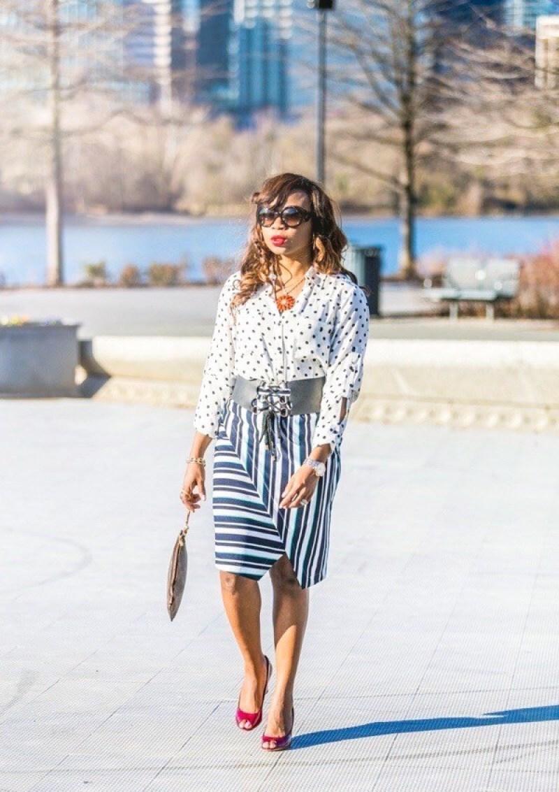 Mixing prints: Polka dot top and striped wrap skirt