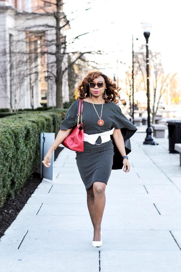 Black fashion blogger in Asos polka dot dress