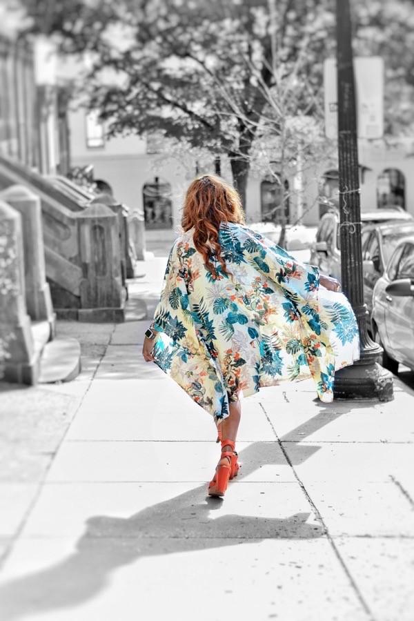 Fashion Blogger wearing Shein Floral Kimono