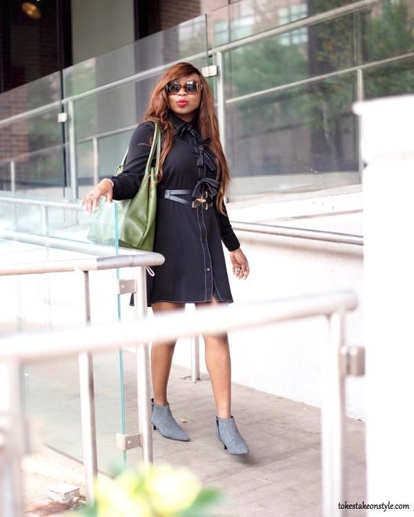 Black shirt dress and green Armadio tote bag