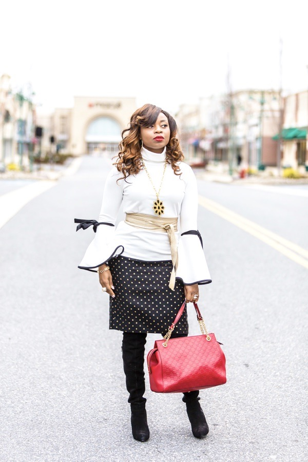 tokestakeonstyle-day-to-night-office-holiday-looks-white-bell-sleeve-top-red-gucci-bag