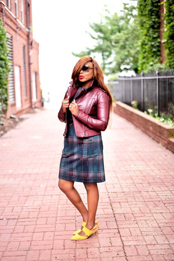 tokestakeonstyle-ways-to-style-a-red-leather-jacket-with-dress