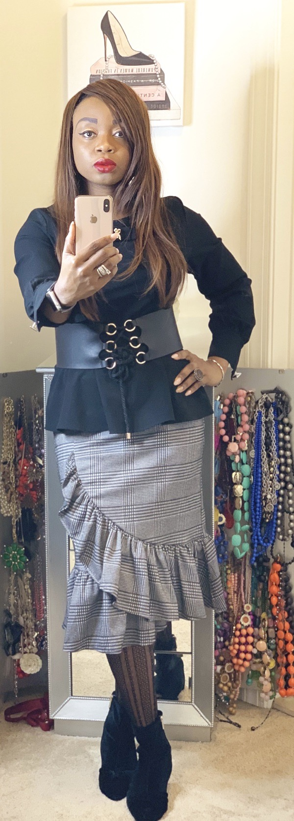simple ways to style a ruffled plaid skirt for work